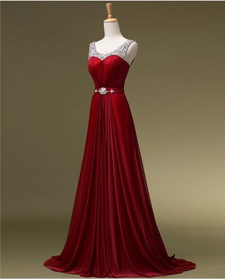 Red Evening Dresses Long Cheap Straps Beaded A Line Chiffon Prom Dresses_2