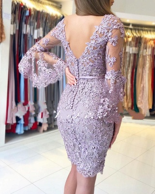 Elegant Purple Cocktail Dresses Short | Lace evening dresses with sleeves_3