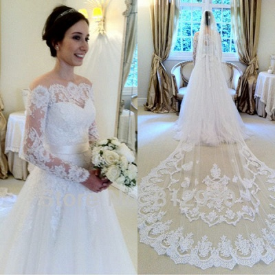 Chic Long Sleeves Wedding Dresses White Lace A line Bridal Gown Wedding Gowns_2
