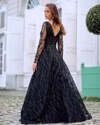 Elegant Evening Dresses Long Black | Prom dresses with sleeves_2
