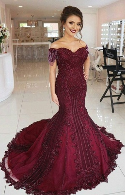 Modern Evening Dresses Long Wine Red | Lace Evening Wear Prom Dresses Online_1