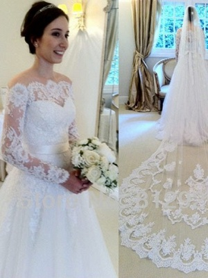 Chic Long Sleeves Wedding Dresses White Lace A line Bridal Gown Wedding Gowns_1