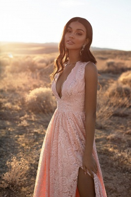 Evening dresses long v neckline pink | Prom dresses with lace_3