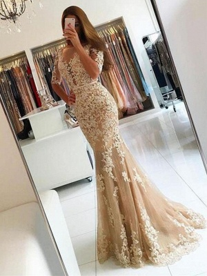 Champagne Evening Dresses Long With Sleeves Lace Mermaid Evening Wear Prom Dresses Cheap_1