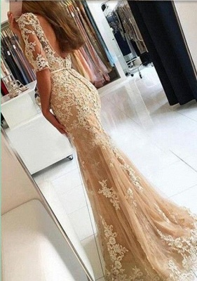 Champagne Evening Dresses Long With Sleeves Lace Mermaid Evening Wear Prom Dresses Cheap_3