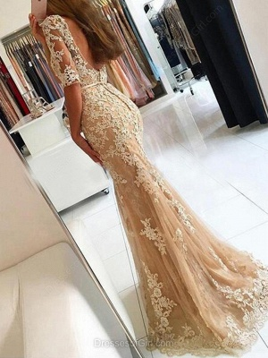 Champagne Evening Dresses Long With Sleeves Lace Mermaid Evening Wear Prom Dresses Cheap_4
