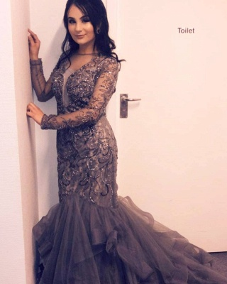 Luxury evening dress silver | Elegant long evening dresses with sleeves_3