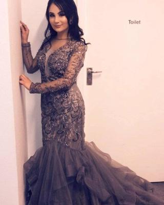 Luxus Abendkleid Silber | Elegante Abendkleider Lang mit Ärmel_3