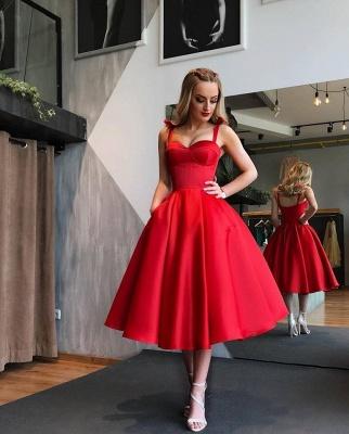 Elegant Red Cocktail Dresses Short A Line Knee Length Prom Dresses Evening Wear_1