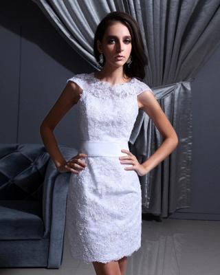 Designer Brautkleider Kurz Weiß Spitze Etuikleid Brautmoden Hochzeitskleider_4
