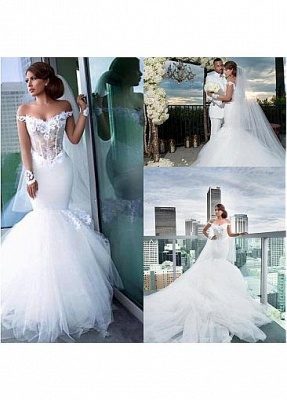 Fashion wedding dress with sleeves | Tulle wedding dress with lace_2