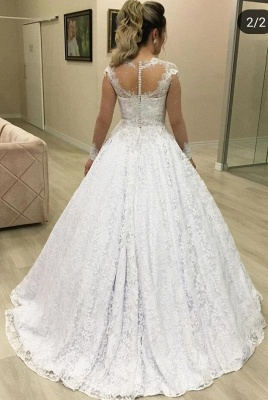 Beautiful wedding dresses with sleeves | A line lace wedding dresses online_2