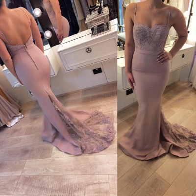 Exclusive evening dresses long cheap lace mermaid evening wear pink_2