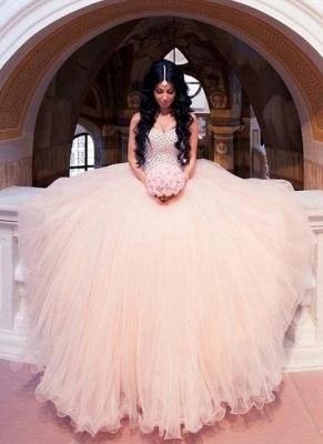Champagne Brautkleider Günstig Perlen Tüll Brautmoden Hochzeitskleider_1