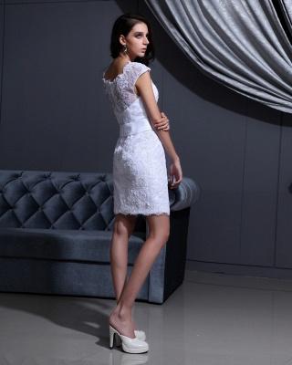 Designer Brautkleider Kurz Weiß Spitze Etuikleid Brautmoden Hochzeitskleider_5