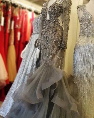 Luxus Abendkleid Silber | Elegante Abendkleider Lang mit Ärmel_2