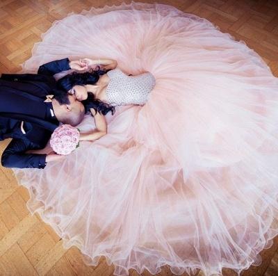 Champagne Brautkleider Günstig Perlen Tüll Brautmoden Hochzeitskleider_3