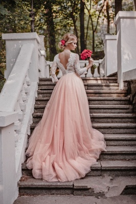 Pink White Wedding Dresses With Sleeves Lace A Line Bridal Wedding Gowns_2
