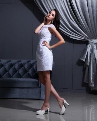 Designer Brautkleider Kurz Weiß Spitze Etuikleid Brautmoden Hochzeitskleider_3
