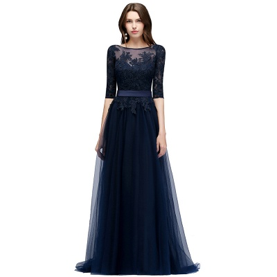 Navy blue evening dresses with sleeves lace sheath dresses evening gowns online cheap_4