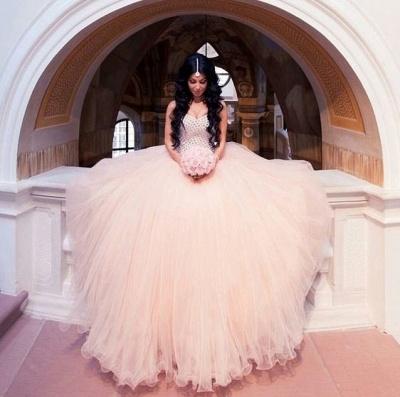 Champagne Brautkleider Günstig Perlen Tüll Brautmoden Hochzeitskleider_2