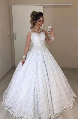 Beautiful wedding dresses with sleeves | A line lace wedding dresses online_1