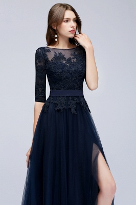Navy blue evening dresses with sleeves lace sheath dresses evening gowns online cheap_2