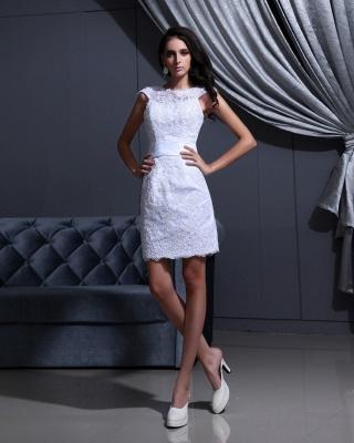 Designer Brautkleider Kurz Weiß Spitze Etuikleid Brautmoden Hochzeitskleider_6