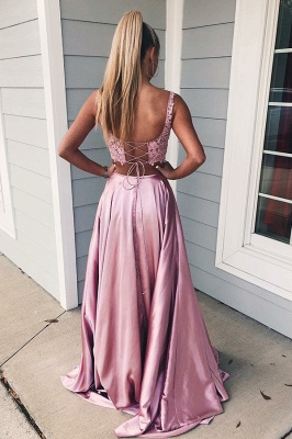 Evening dresses with lace | Evening dress long pink cheap_2