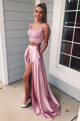 Evening dresses with lace | Evening dress long pink cheap_1