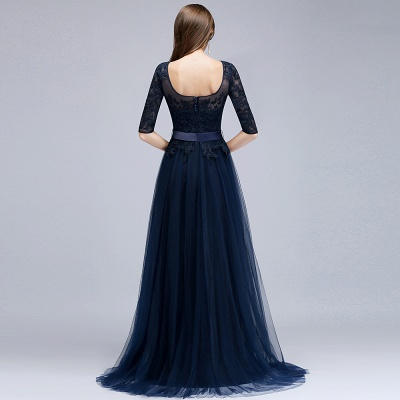 Navy blue evening dresses with sleeves lace sheath dresses evening gowns online cheap_5
