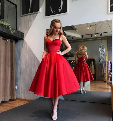 Elegante Rote Cocktailkleider Kurz A Linie Knielange Abiballkleider Abendmoden_2