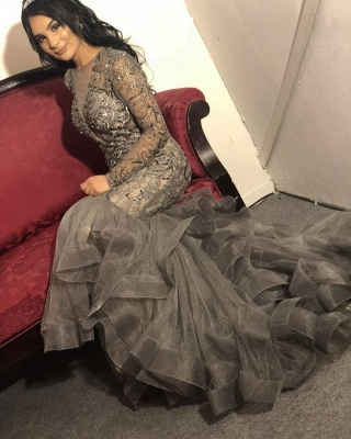 Luxury evening dress silver | Elegant long evening dresses with sleeves_1