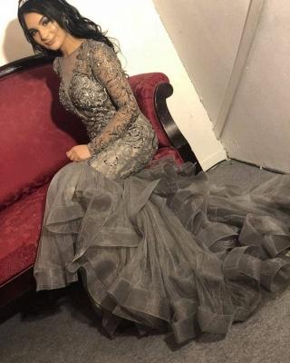 Luxus Abendkleid Silber | Elegante Abendkleider Lang mit Ärmel_1