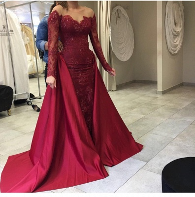 2-piece wine red evening dresses long sleeves lace mermaid prom dresses with train cheap_2